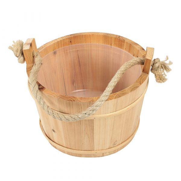 Saunabottich aus Holz mit Kunststoffeinsatz