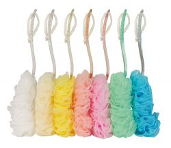 Mesh brush, synthetic, assorted colours