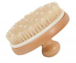 Bathbrush with massage pins and wooden grip