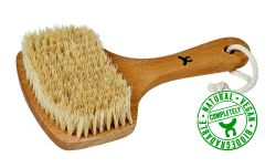 Bathbrush, short handle, beech wood, vegan bristles