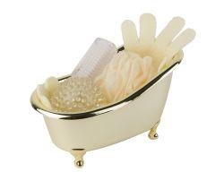 Gift set in golden bathtub