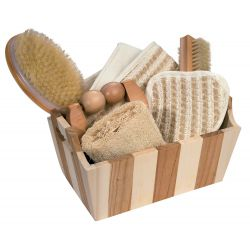 Gift set in wooden box, striped