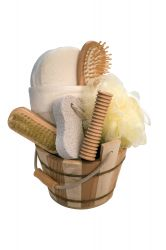 Gift set in wooden pail, striped