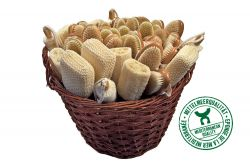Assortment of bathbrushes, in large wicker basket